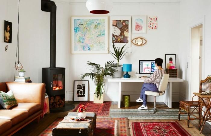 wohnideen wohnzimmer skandinavisch eklektisch pflanzen kamin