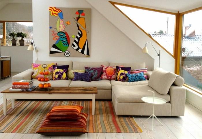 wohnideen wohnzimmer streifenteppich dekokissen ecksofa eklektisch