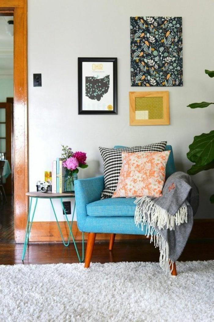 wohnideen wohnzimmer weißer teppich pflanzen eklektisch