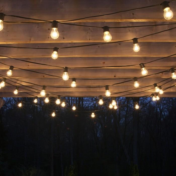 wohnungsdekoration lichterketten nachts garten dekoideen