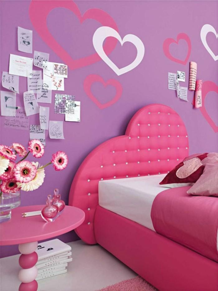 zimmer deko diy jugendzimmer mädchen lila wandfarbe schöne wanddeko