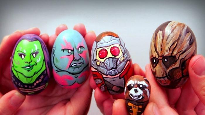 Eier Gesichter malen kreativ wettbewerb die ostereier gestalten einfach x-man