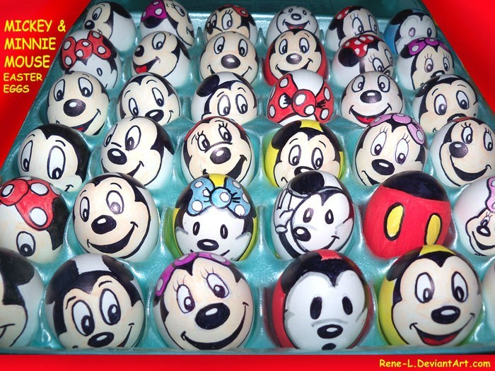 Eier Gesichter malen kreativ wettbewerb mickey mouse