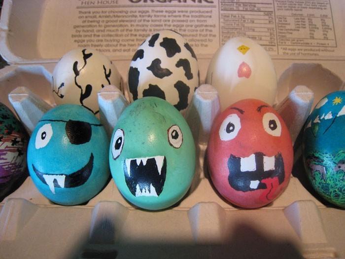 Eier Gesichter malen kreativ wettbewerb monsters