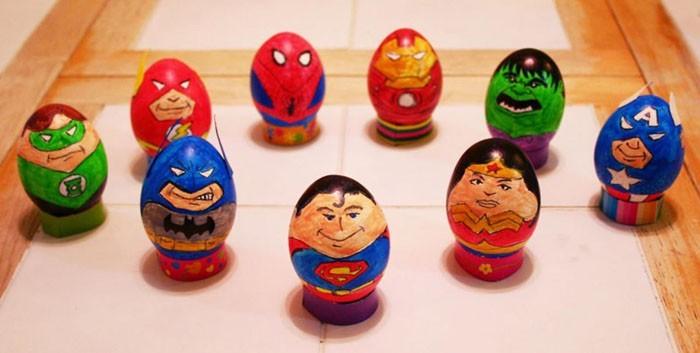 Eier Gesichter malen kreativ wettbewerb ostereier gestalten avengers