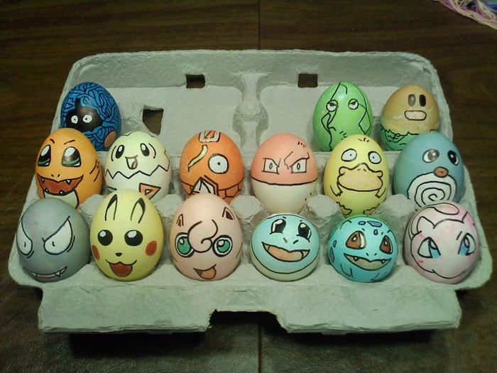 Eier Gesichter malen kreativ wettbewerb pokemon