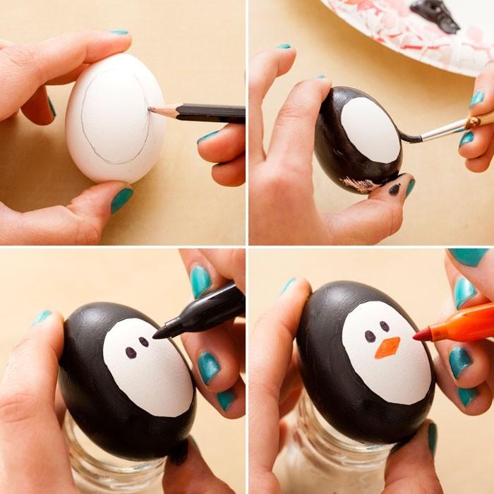 Eier Gesichter malen ostereier gestalten eier mit gesichter malen osterdeko selber machen pinguine
