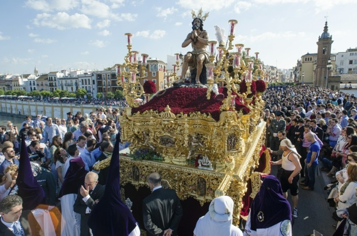 "SEVILLE. SPAIN - APRIL 13: The brotherhood of ""La Estrella"" In t"