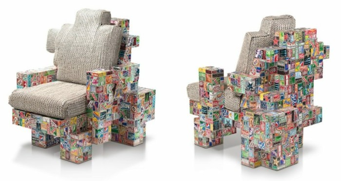 aluminium dosen sessel selber bauen diy upcycling möbel idee