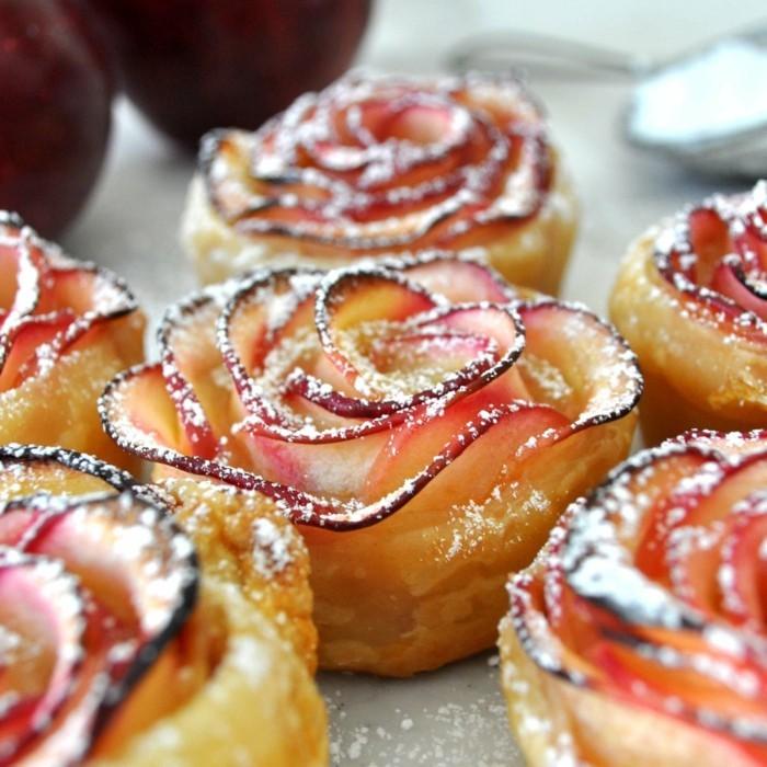 apfle kuchen in form von rosen