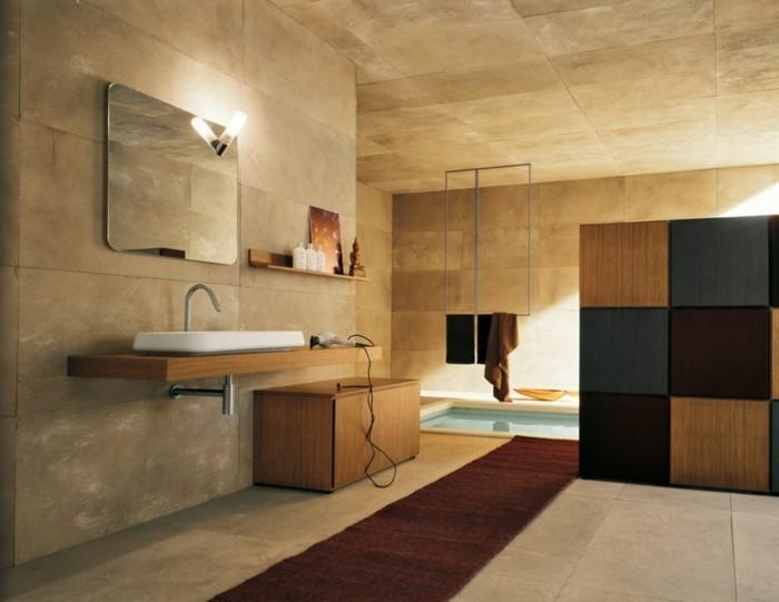badezimmer mit holz einrichten waschtisch schrank schränke