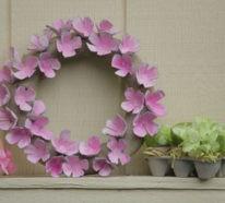 Basteln mit Eierkarton – Osterkranz aus Frühlingsblumen in ein paar einfachen Schritten