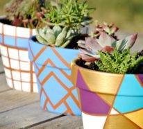 Blumentopf bemalen, Balkon und Garten kreativ gestalten-30 Deko Vorlagen