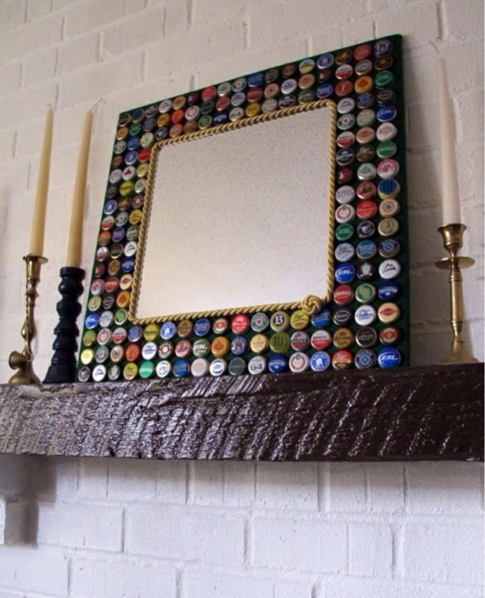 deko-ideen-selbermachen-spiegel-dekorieren-flaschendeckel