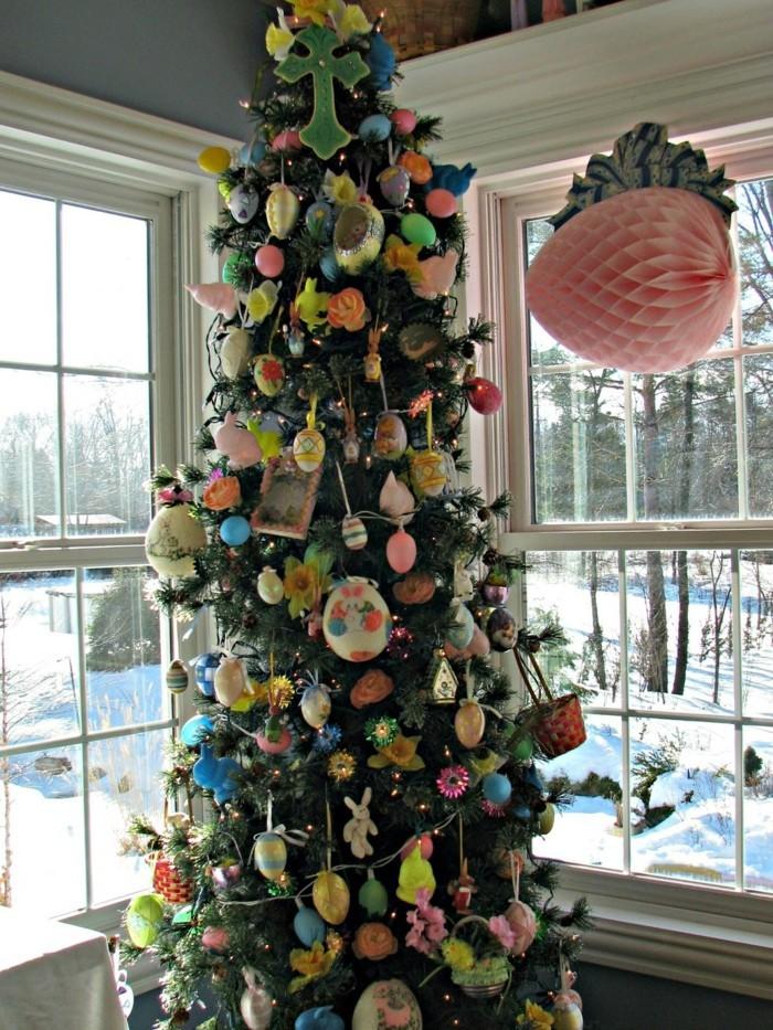 den weihnachtsbaum als osterbaum verzieren