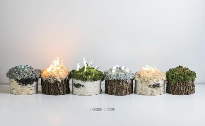 designer lampen aus holz mit kristallen und moos verziert