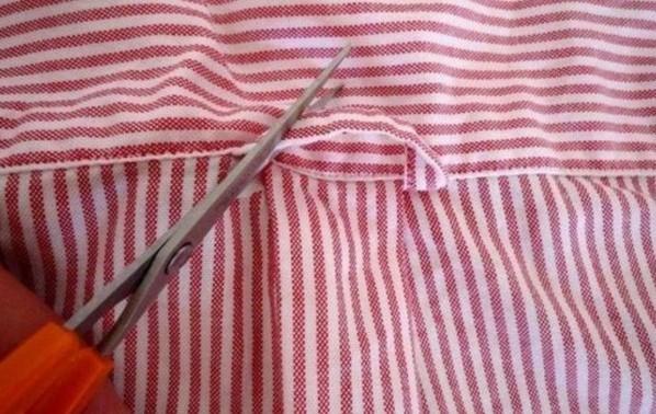 die schlaufe auf dem hemd beseitigen