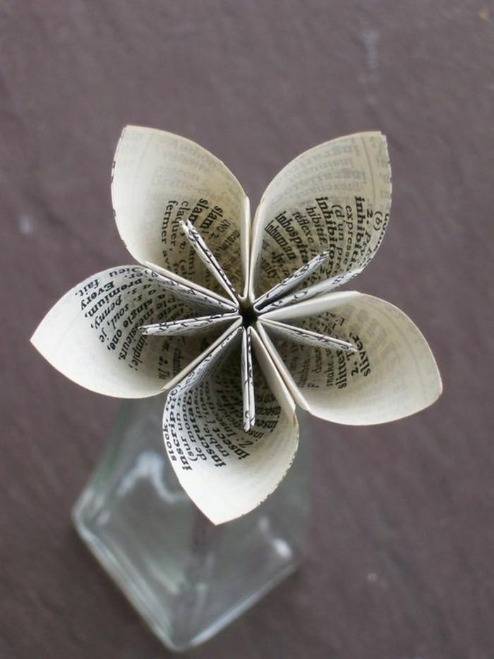 diy deko wohnung blume aus papier basteln und in vase stellen