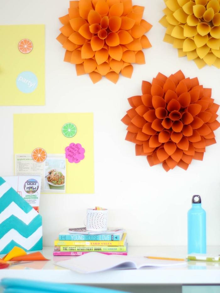 diy deko wohnung papierblumen für die wanddekoration