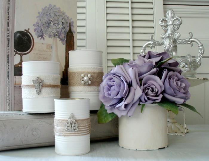 diy ideen mit bemalten blechdosen und stoff