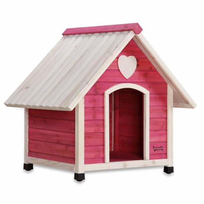eine hundehuette in pink