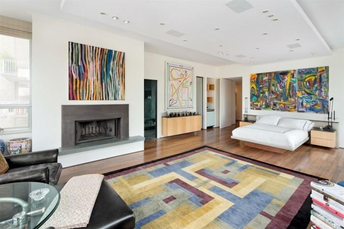 einrichtungsideen für das schlafzimmer farbiger teppich kamin bunte wandbilder