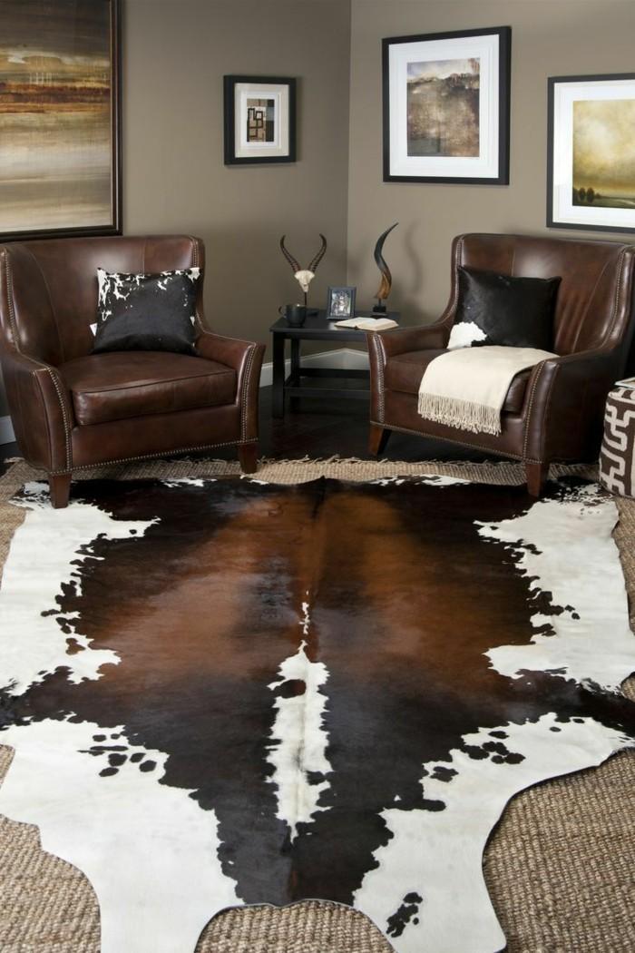 einrichtungsideen für wohnzimmer lederteppich über den teppichboden verlegen