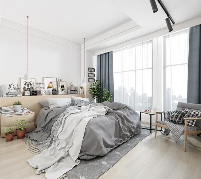 einrichtungsideen mit mustern schlafzimmer graunuancen