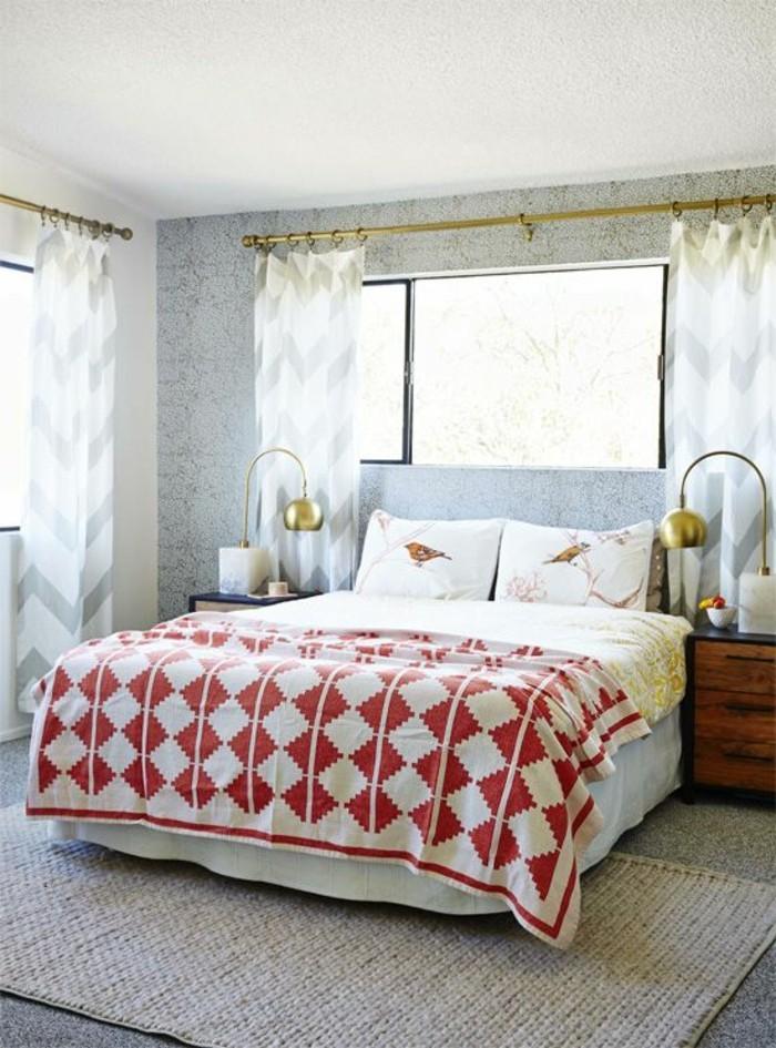 einrichtungsideen schlafzimmer einrichten schöne bettwäsche mit gardinen kombinieren