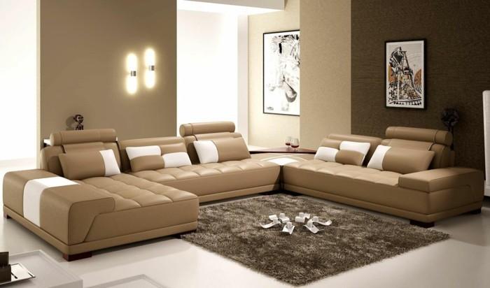 einrichtungstipps ledercouch modernes design hochflor teppich wohnzimmer ideen