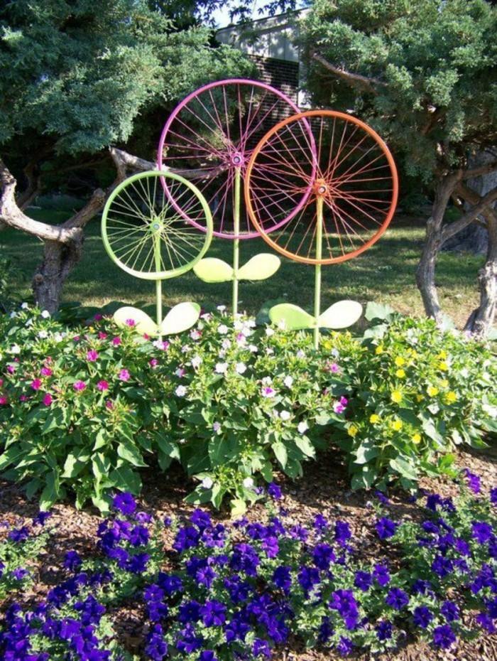 fahrradräder für die gartendekoration diy idee