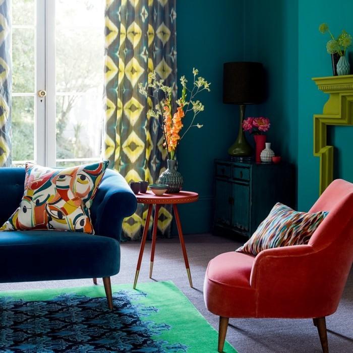 farbkombinationen farben frisch kombinieren im wohnbereich und bunte muster einfügen