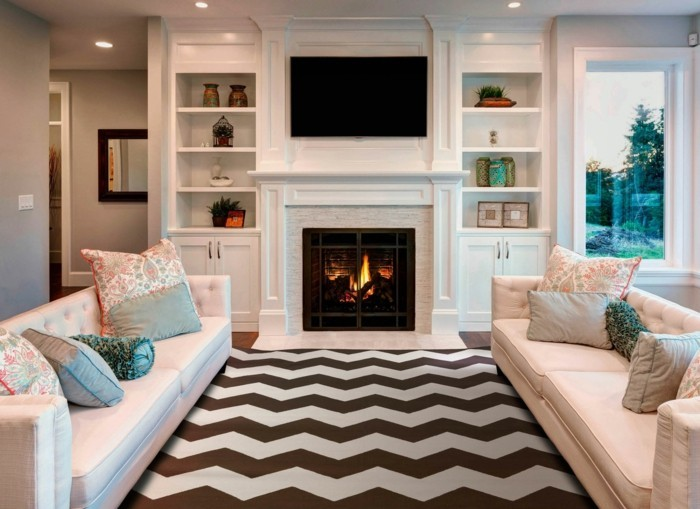 farbkombinationen zig zag muster und helle sofas