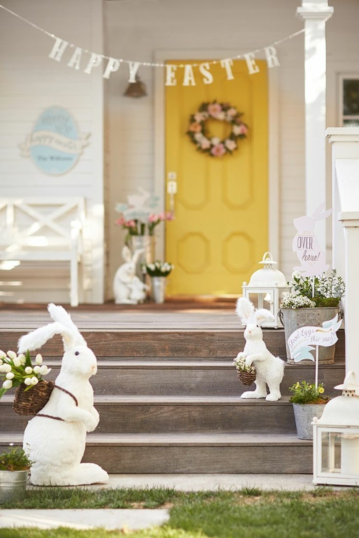 garten dekorieren ostern hölzerne treppen eingang