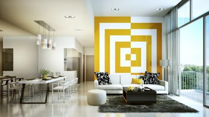 gelb-weisse-3D-motive-im-wohnzimmer