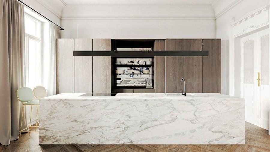 grosse kücheninsel aus marmor in der modernen kücheneinrichtung