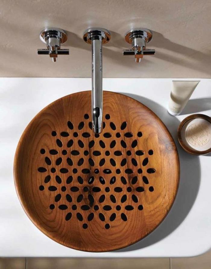 holzwaschbecken badezimmer gestalten holzoberfläche asia
