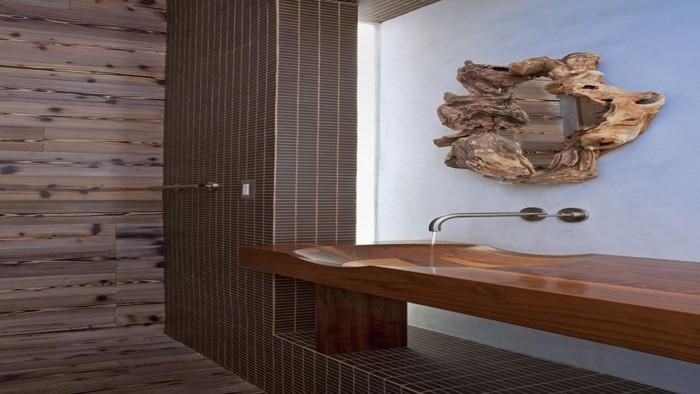 holzwaschbecken badezimmer gestalten holzoberfläche badezimmer spiegel