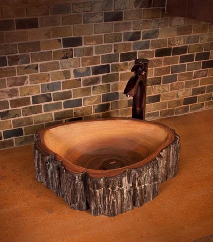 holzwaschbecken badezimmer gestalten holzoberfläche designer waschbecken mulde