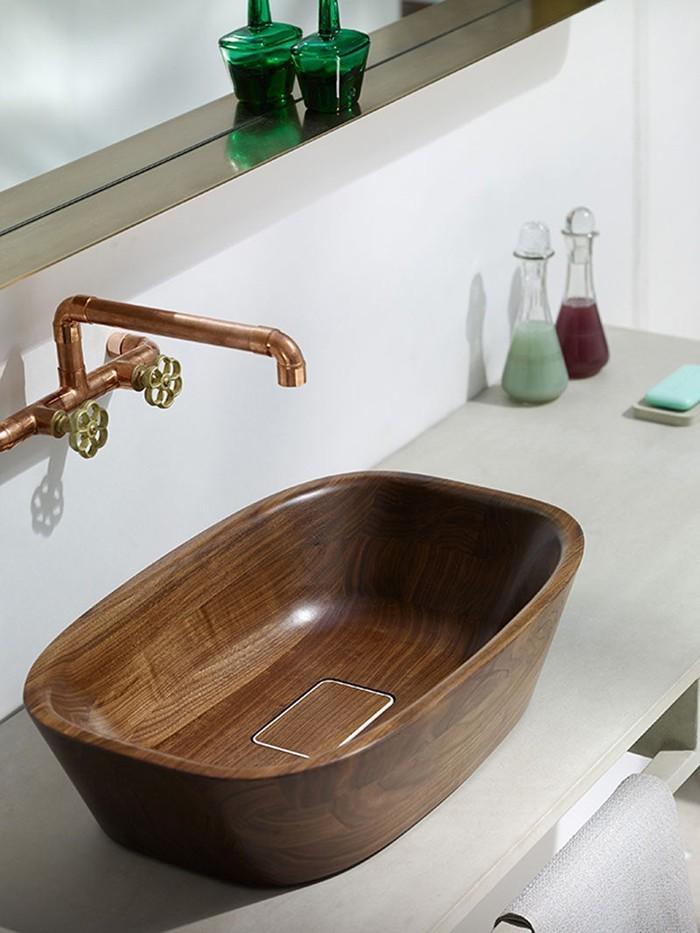 holzwaschbecken badezimmer gestalten holzoberfläche designer waschbecken