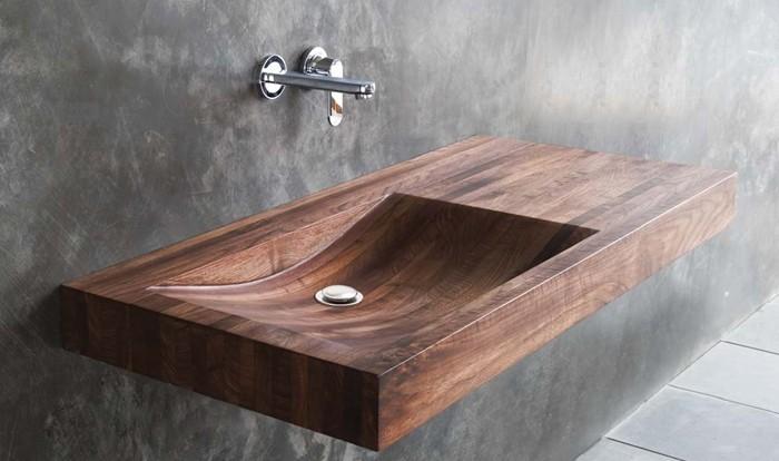 holzwaschbecken badezimmer gestalten holzoberfläche flach