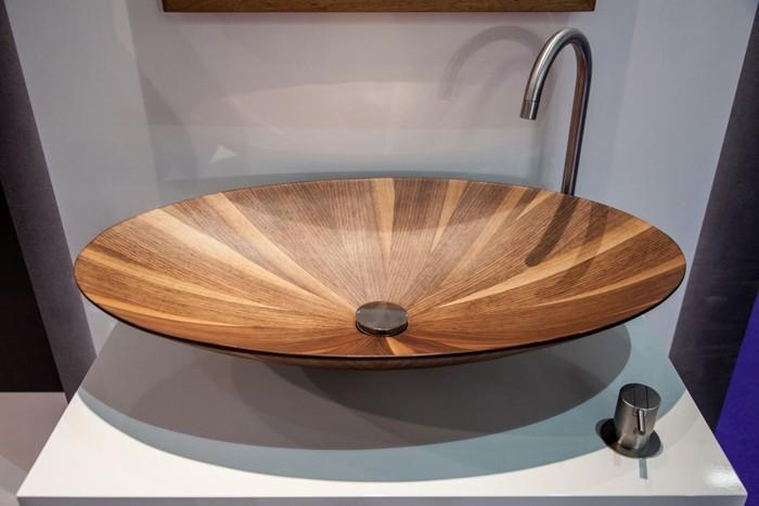 holzwaschbecken badezimmer gestalten holzoberfläche glatt