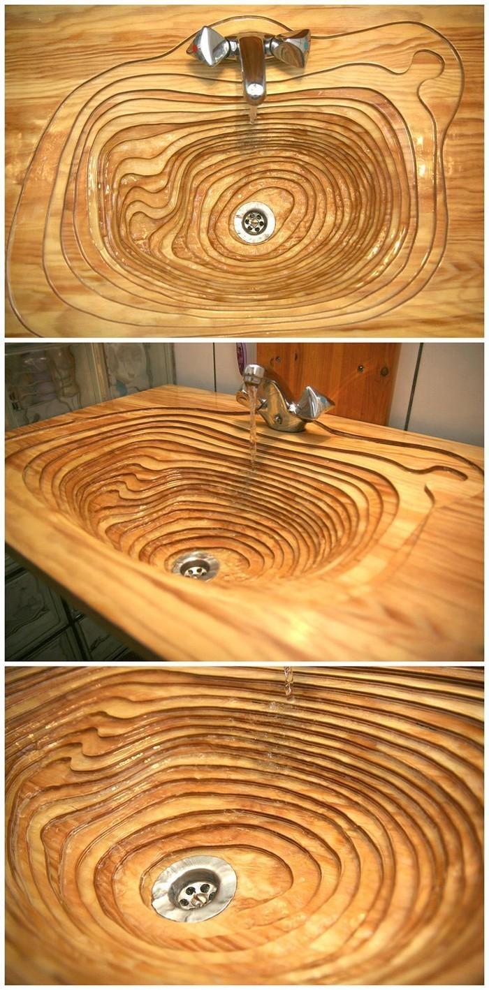 holzwaschbecken badezimmer gestalten holzoberfläche kreise