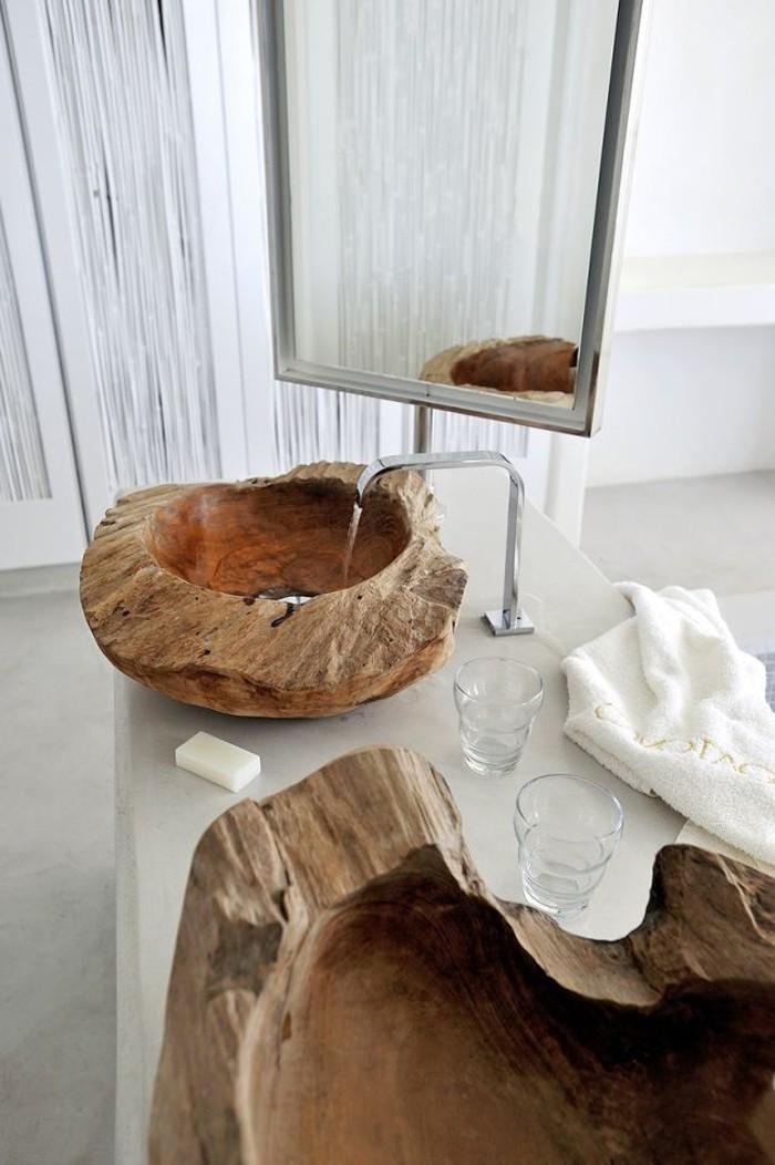 holzwaschbecken badezimmer gestalten holzoberfläche look