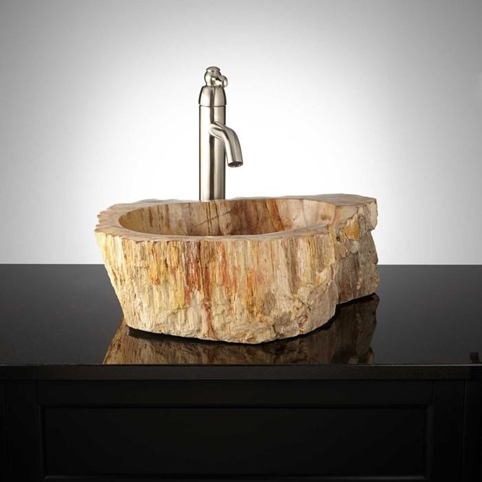 holzwaschbecken badezimmer gestalten holzoberfläche moderne