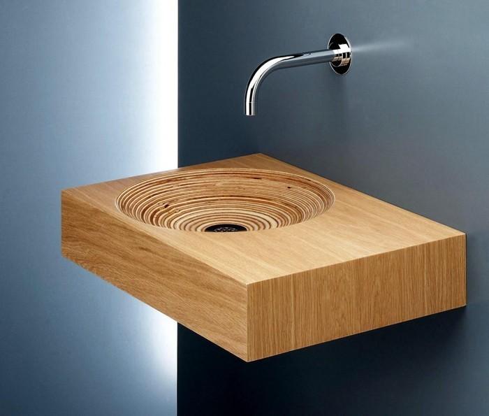 holzwaschbecken badezimmer gestalten holzoberfläche reduziert