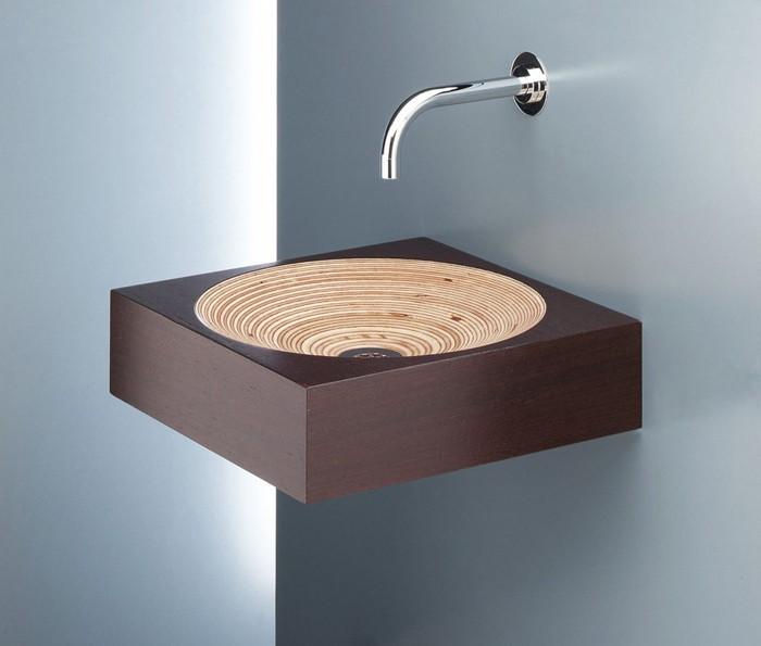 holzwaschbecken badezimmer gestalten holzoberfläche rund