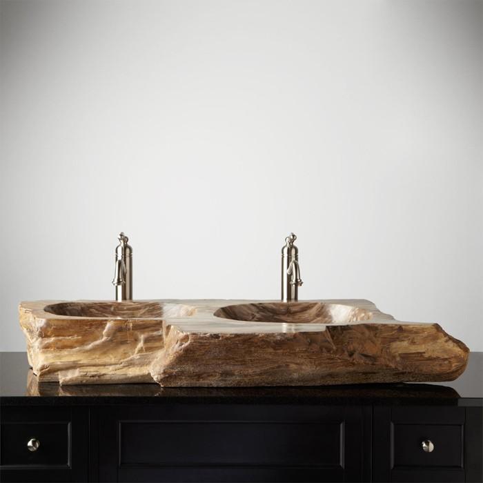 holzwaschbecken badezimmer gestalten holzoberfläche schick