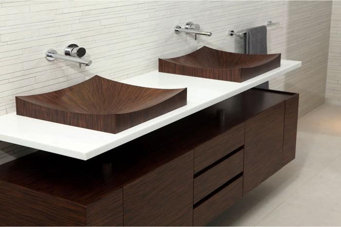 holzwaschbecken badezimmer gestalten holzoberfläche stylisch