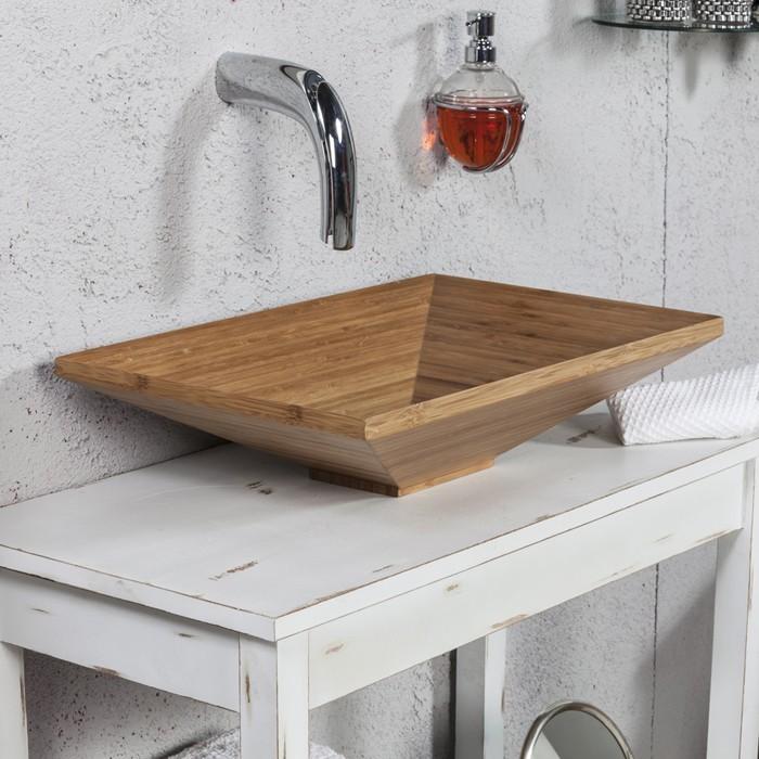 holzwaschbecken badezimmer gestalten holzoberfläche verarbeitet